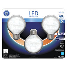GE 5 Watt LED G25 Decorative Globe Light Bulbs - Soft White (3-pack)