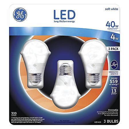 Ge 4 Watt A15 Led Ceiling Fan Bulb Soft White 3 Pack Sam S Club