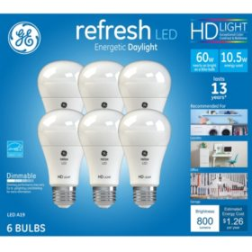 Ge Hd Daylight 60w Replacement Led Light Bulb A19 6 Pack