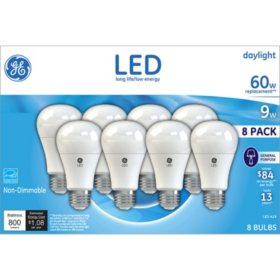 GE LED 9W (60W Equivalent) Daylight Color, A19 General Purpose Light Bulbs (8 pk.)