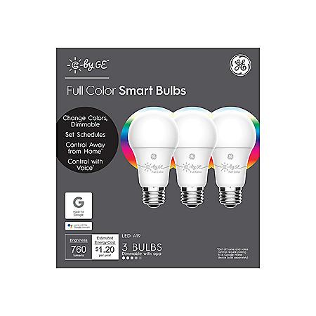 C by GE Full Color Smart Bulbs (3 pack LED A19 Bulbs)