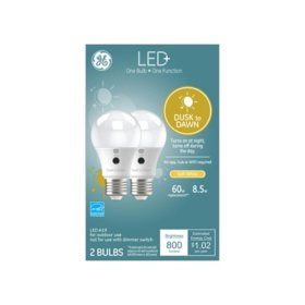 LED+ Dusk to Dawn SW 60W Replacement LED General Purpose A19 Light Bulb, 2 pk.