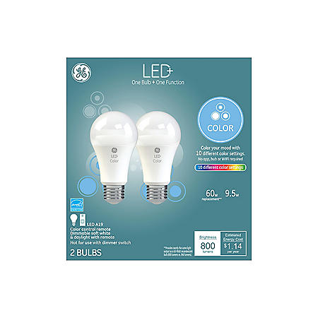 LED+ Color-Changing 60W Replacement LED General Purpose A19 Light Bulbs, 2-Pack