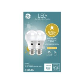 LED+ Dusk to Dawn SW 60W Replacement LED General Purpose A19 Light Bulb 2pk