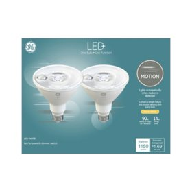 GE LED+ Motion Warm White 90W Replacement LED Outdoor Floodlight - PAR38 Bulbs, 2 pk.