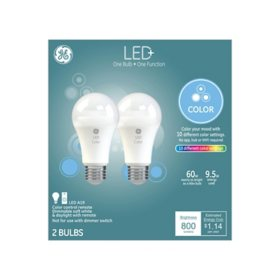 LED+ Color-Changing 60W Replacement LED General Purpose A19 Light Bulbs (2-Pack)