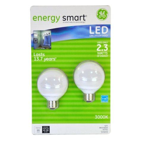 LED Globe G25 Light Bulb 2 Pack