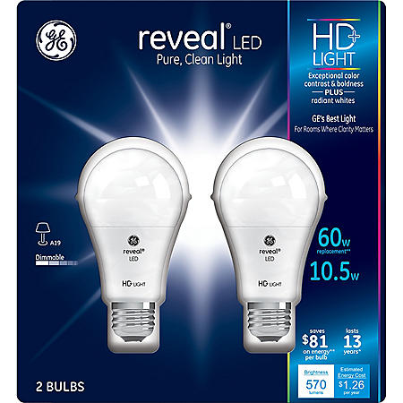 GE 11 Watt A19 Reveal HD LED Light Bulbs (2-pack)