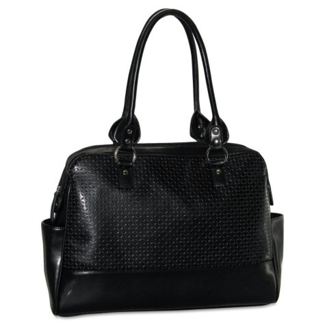 Buxton - Femme Floral Ladies Computer Tote, Faux Leather, 17 x 3-1/2 x 12 -  Black