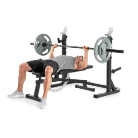 ProForm Sport XT Olympic Squat Rack with Adjustable Safety Spotting Arms and Weight Plate Storage