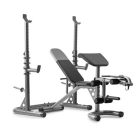 Weider XRS 20 Adjustable Olympic Workout Bench with Independent Squat Rack and Preacher Pad