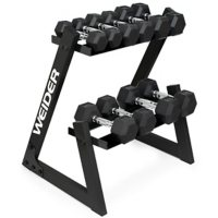 Weider 100 Lb. Dumbbell Set with Two-Tier Storage Rack Dumbbell