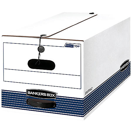 Bankers Box STOR/FILE Storage Box with String and Button Closure, White, Letter (4 per carton)