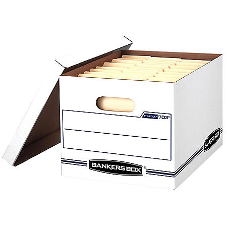Bankers Box STOR/FILE Storage Box with Lift-off Lid, White/Blue, Letter/Legal (4 per carton)