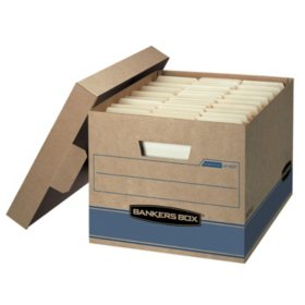 "Bankers Box Heavy Duty Storage Boxes, 10"" x 12"" x 15"" (10 Pack), Kraft Brown and White"