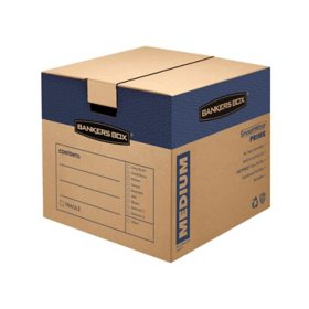 "Bankers Box SmoothMove Prime Medium Moving/Storage Boxes, Kraft (18 3/4"" x 18 1/8"" x 16 5/8"", 8 ct.)"