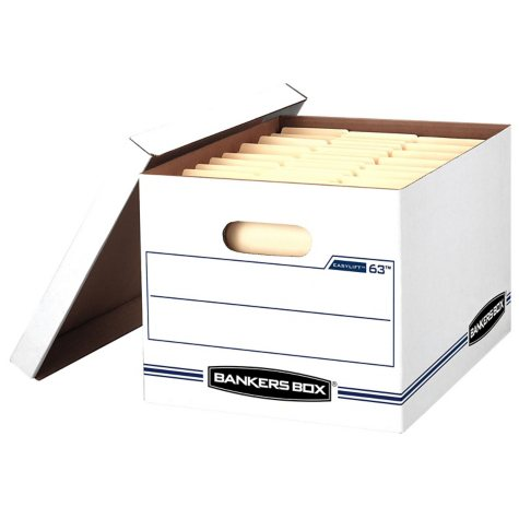 Bankers Box - EASYLIFT Storage Box, Letter/Letter, Lift-Off Lid, White/Blue -  12/Carton