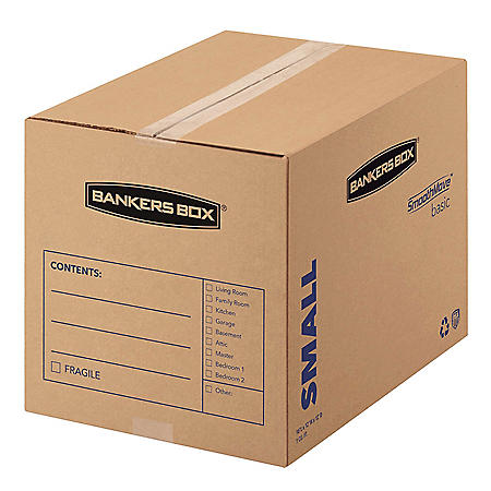 43c84505e630 Bankers Box SmoothMove Basic Small Moving Boxes, Kraft/Black (16 1/2 x 12  1/4 x 12 5/8, 25ct.)