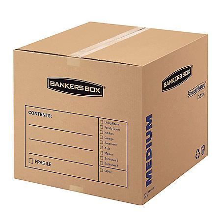 Bankers Box SmoothMove Basic Medium Moving Boxes, Kraft/Black (18 1/4 x 18 1/4 x 16 3/8, 20ct.)