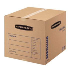 Bankers Box SmoothMove Basic Medium Moving Boxes, Kraft/Black (18 1/4 x 18 1/4 x 16 3/8, 20ct.)