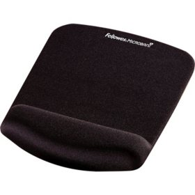 Fellowes - PlushTouch Mouse Pad with Wrist Rest, Foam, Black -  7 1/4 x 9-3/8