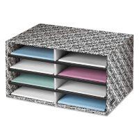 Bankers Box Decorative Eight Compartment Literature Sorter, Letter Size - White/Black Brocade