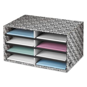 Bankers Box Decorative Eight Compartment Literature Sorter, Letter Size - White/Black Brocade