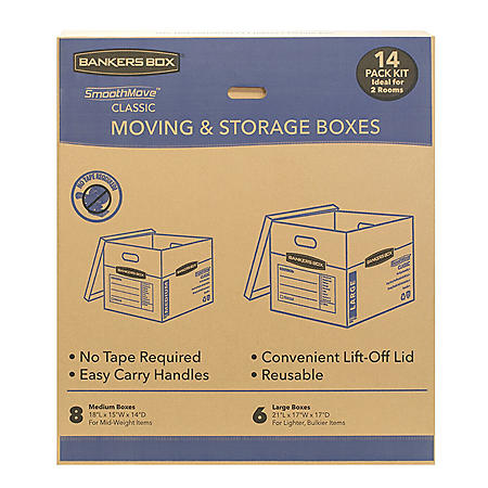 Bankers Box SmoothMove Classic 14 Box Kit (8 Medium/6 Large)
