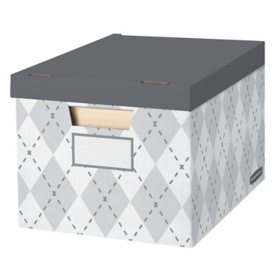 Bankers Box Gray Argyle Decorative Box, 6-pack