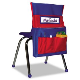 Carson-Dellosa Publishing - Chairback Buddy Pocket Chart, 12 x 22 1/2 -  Blue/Red