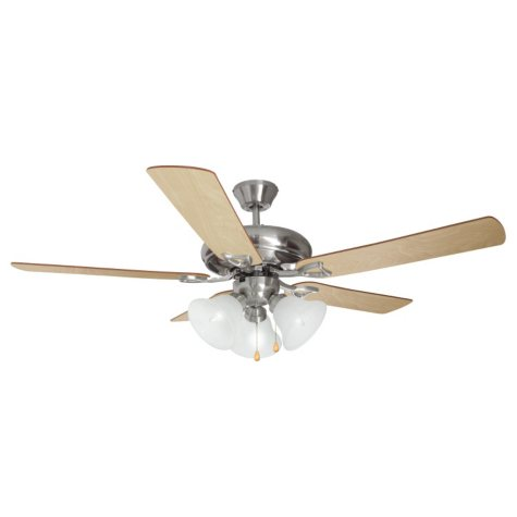 "Design House 3-Light 52"" Ceiling Fan Bristol Collection Satin Nickel"