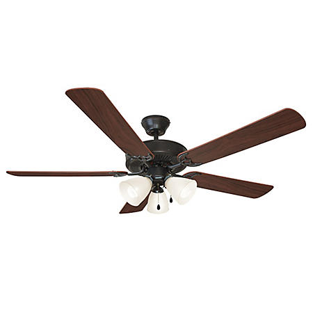 "Millbridge by Design House 52"" Ceiling Fan with 5 Blades and Light Kit - Oil Rubbed Bronze"
