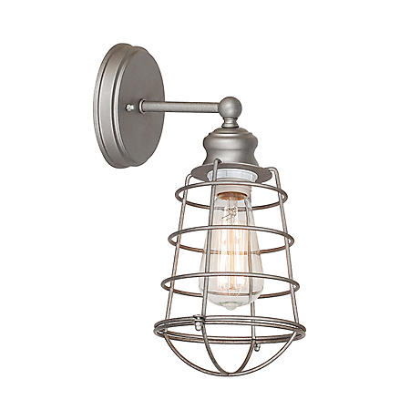 Ajax 1-Light Galvanized Indoor Wall Sconce