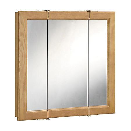 Design House Richland Nutmeg Oak Tri-View Medicine Cabinet Mirror