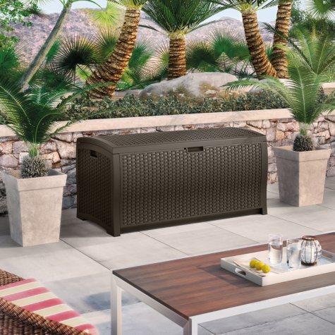 Suncast Wicker 99 Gallon Deck Box