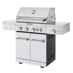 KitchenAid 4-Burner Gas Grill, Ceramic Searing Side Burner, Rotisserie Burner