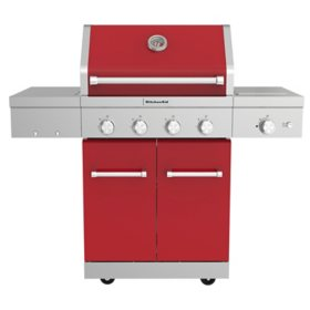 KitchenAid 4-Burner Gas Grill, Ceramic Searing Side Burner, Rotisserie Burner