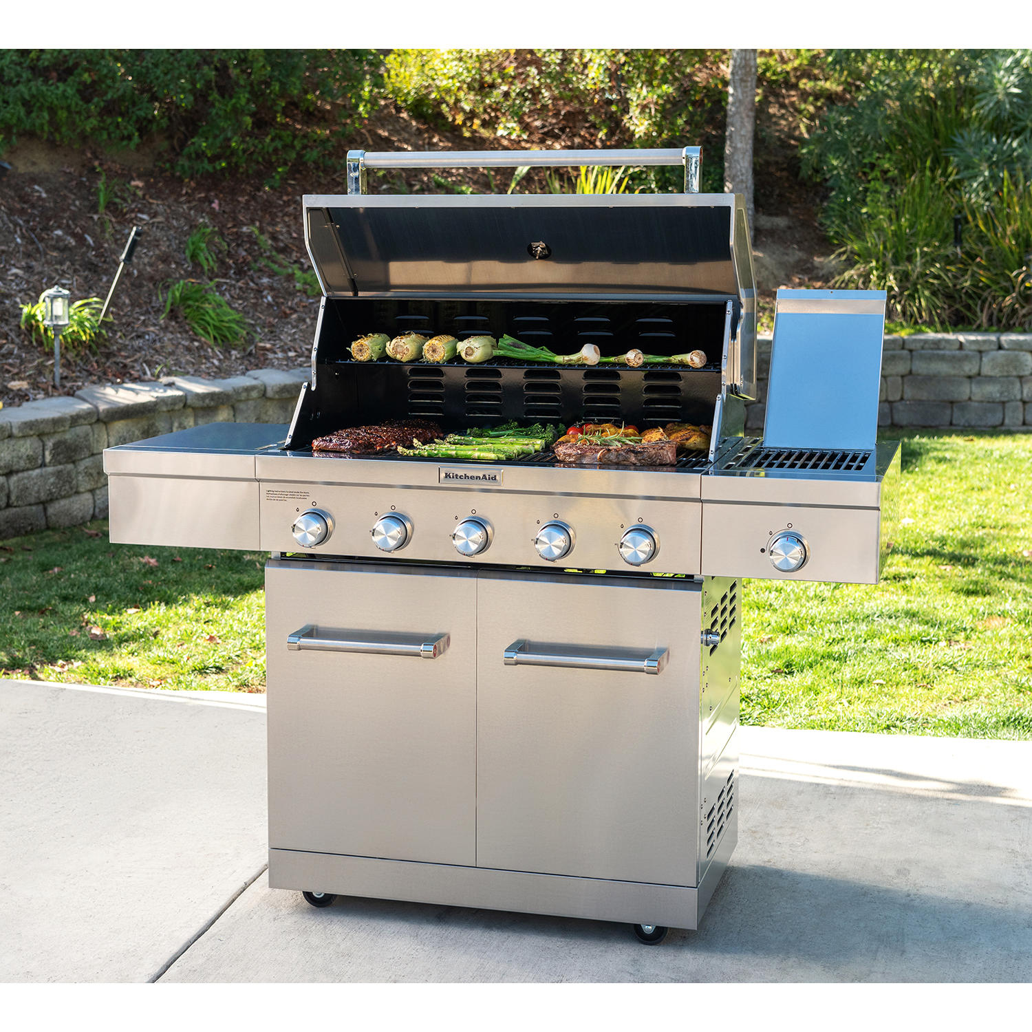 KitchenAid 5-Burner Propane Gas Grill with Ceramic Searing Side Burner