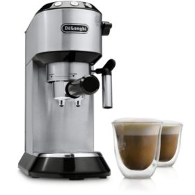De'Longhi Dedica 15-Bar Stainless-Steel Slim Espresso and Cappuccino Machine with 2 Cappuccino Glasses
