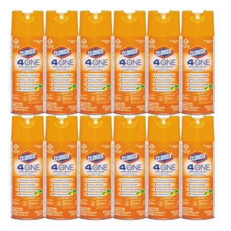 Clorox 4-in-1 Aerosol Disinfectant and Sanitizer, Citrus (14 oz. can, 12 per carton)