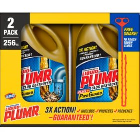 Liquid-Plumr Pro-Strength Full Clog Destroyer Plus PipeGuard (128 oz. bottles, 2 pk.)