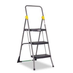 Cosco Commercial 3-Step Folding Step Stool, 300lb Duty - Grey
