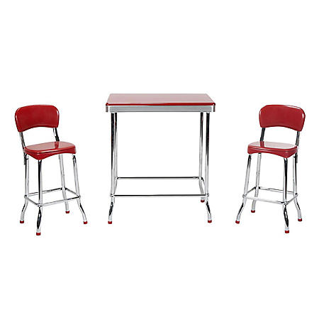 Red Retro Chrome 3-Piece High Top Set, Red with Chrome Legs