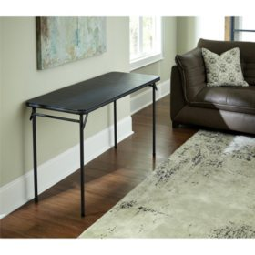 "Cosco 20"" x 48"" Vinyl-Top Folding Table, Black"