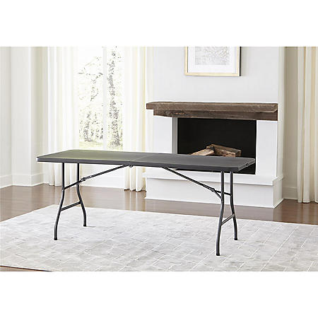 "Cosco Deluxe 6' x 30"" Fold-in-Half Blow Molded Folding Table, Black"
