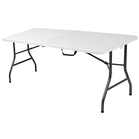 """Cosco Deluxe 6' x 30"""" Fold-in-Half Blow Molded Folding Table, White Speckle"""