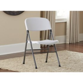 Cosco Resin Folding Chair with Molded Seat and Back, White Speckle (4-pack)