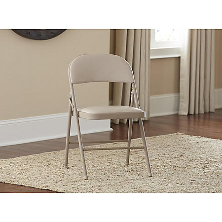 Cosco Vinyl Padded Folding Chair, Assorted Colors (4-pack)