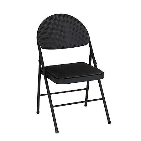 XL Comfort Folding Chair, Black Fabric (4-pack)
