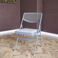 COSCO Ultra Comfort Commercial XL Premium Fabric Padded Folding Chair, Gray
